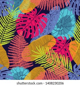 Exotic leaves. Vector seamless pattern.  Can be used in textile industry, paper, background, scrapbooking.