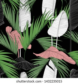 Exotic line tropical leaves on dark background. Floral seamless pattern. Tropical illustration. Summer beach design. Paradise nature.