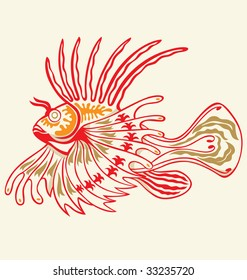 exotic lion fish illustrated with tattoo style