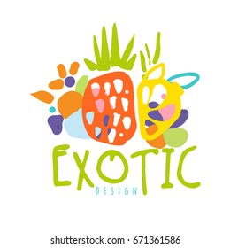 Exotic logo design with tropical fruits colorful hand drawn vector Illustration