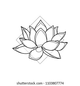Exotic lotus flower in geometric background. Simple icon composition. Vector illustration. Line work. Modern monochrome logotype. Nature representation.