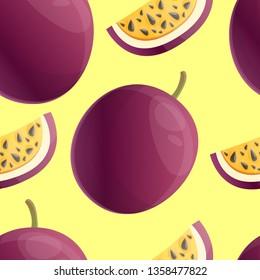 Exotic maracuja pattern. Cartoon illustration of exotic maracuja vector pattern for web design