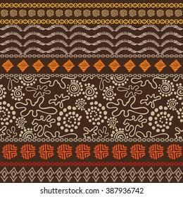 Exotic night. Set of seamless ethnic borders. Aboriginal art motifs, hand drawn doodle, geometric print, waves, trees. Abstract vector pattern. Safari textile collection. Dark brown, terracotta, gold.