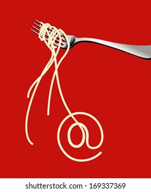 Exotic noodles on fork forming the shape of 'at' symbol