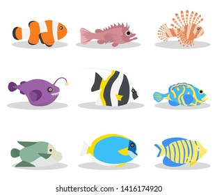 Exotic ocean fish flat vector illustrations set. Tropical deep water wildlife, sea life pack. Clownfish, blackbelly rosefish, angelfish. Beautiful coral reef fauna. Red volitan lionfish and angler