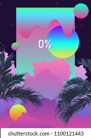 Exotic palm tree and phychedelic liquid cloud background. graphic template with space for text
