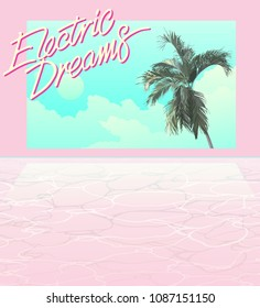 Exotic palm tree and pool background, realistic flat style. modern retro graphic illustration background template with space for texts, nostalgic / emotion / aesthetic feeling