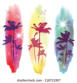 Exotic Palm Trees Background Banners