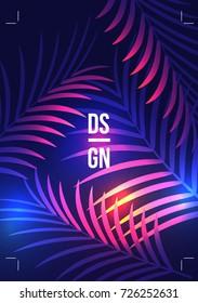 Exotic Palm LeavesSummer Tropical Design Flyer - Vector Illustration