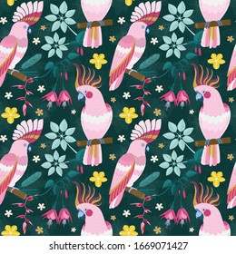 Exotic parrots pattern with tropical flowers and leaves for print wrapping paper, textile or fabric design. Pink cockatoo birds sitting on blooming brunches on colorful seamless background.