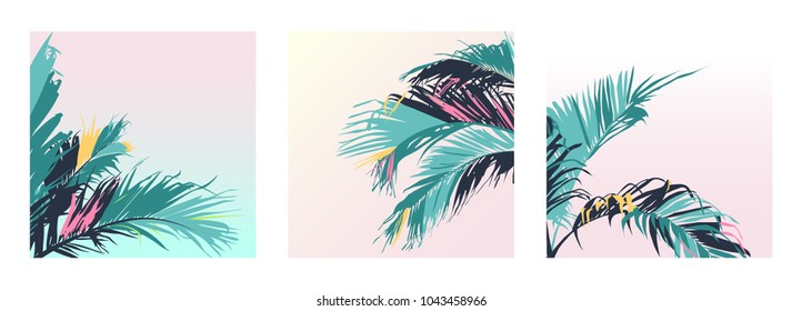 Exotic pastel tropical palm trees leaf, sweet retro vintage pastel gradient colour palette