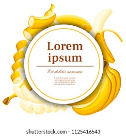 Exotic pattern. Banana and slices of bananas.. Concept design for postcard and advertising. White circle with place for your text. Flat vector illustration for decorative poster.