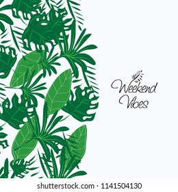 Exotic Pattern of Tropical Bright Green leaves on pastel blue backround with slogan