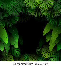 Exotic pattern with tropical leaves on a black background.vector