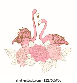 Exotic pink flamingo birds loving couple. Rose peony flowers bouquet element composition. Isolated on white background. Warm pastel colors. Vector design illustration.