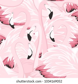 Exotic pink flamingo wading birds flamboyance colony regiment. Long neck, beak, body, feather detailed drawing. Seamless pattern. Vector design illustration for fashion, fabric, textile, decoration.