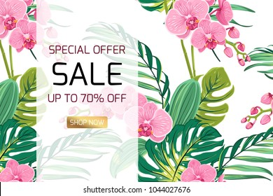 Exotic pink orchid phalaenopsis flowers tropical rainforest jungle tree monstera bright green leaves background. Sale discount promo offer banner template text placeholder for advertising marketing.
