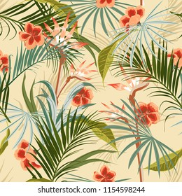 Exotic Retro vintage tropical wild forest with palm trees ,flowers,leaves,foliage seamless pattern in vector suits for fashion,fabric and all prints on light beige background.