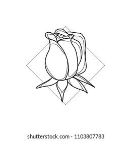 Exotic rose in geometric background. Simple icon composition. Vector illustration. Line work. Modern monochrome logotype. Nature representation.