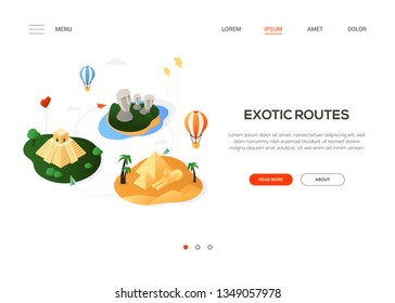 Exotic routes - modern colorful isometric web banner with copy space for text. Website header with famous landmarks, Moai, Aztec and Egyptian pyramids, hot air balloons. Traveling and vacation concept