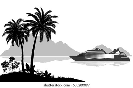 Exotic Sea Landscape, Tropical Palms Trees and Plants, Ship Passenger Liner, Mountains, Black and Grey Silhouettes on White Background. Vector