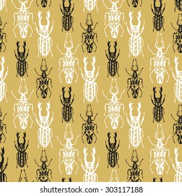 Exotic seamless pattern with insect beetles in gold background. Vintage style textured vector. Print, textile, wrapping, wallpaper, fabric hipster design