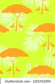 Exotic seamless pattern with pink flamingos, tropical leaves and acacia. Summer background with plants and birds. Africa.
