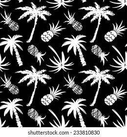 Exotic seamless pattern with silhouettes coconut palm trees and pineapples in black and white. Abstract tropical hand drawn background texture. Cloth art design