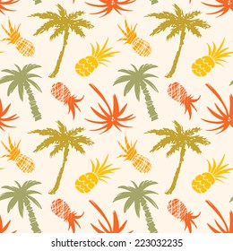 Exotic seamless pattern with silhouettes tropical coconut palm trees and pineapples. Forest, jungle repeating background. Abstract print texture. Cloth design. Wallpaper