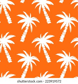 Exotic seamless pattern with silhouettes tropical coconut palm trees in orange and white. Forest, jungle repeating background. Abstract print texture. Cloth design. Wallpaper