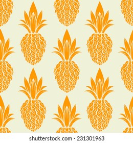 Exotic seamless pattern with silhouettes tropical fruit pineapples. Food hand drawn repeating background. Abstract print texture. Cloth art design