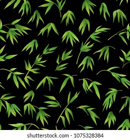 Exotic Seamless Pattern, Tropical Bamboo Plants Branches with Green Leaves on Tile Black Background. Vector