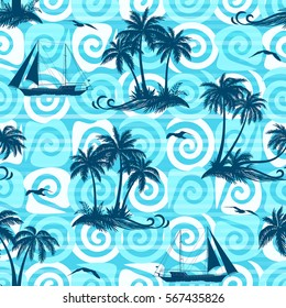 Exotic Seamless Pattern, Tropical Landscape, Palms Trees, Ships Sailing and Birds Seagulls Silhouettes on Abstract Tile Background with Spirals and Lines. Eps10, Contains Transparencies. Vector