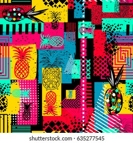 Exotic summer endless backgrounds, Abstract  creative trendy colorful seamless pattern with pineapples urban geometric seamless pattern. Squares, stripes, lines. Hand drawn artistic texture. Pop-art.