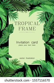 Exotic summer frame for invitation, card, banner and voucher. Template for identity design. Vector illuatration