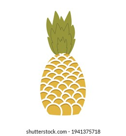 Exotic summer fruit of yellow color. Pineapple is a sweet dessert. Close up on isolated background. Vector stock illustration in flat style.