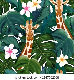 Exotic summer print. Seamless pattern with palm tree, giraffe and hibiscus flower. Vector illustration