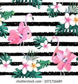 Exotic summer print. Seamless stripe pattern with tropical leaves , flowers and flamingo.Jungle background.Vector illustration. Watercolor style