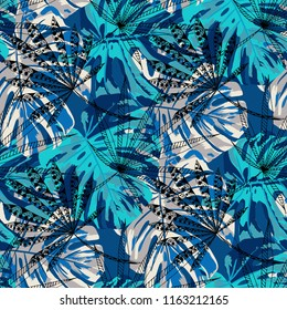 Exotic Trees. Seamless Pattern with Australian Rainforest. Trendy Colorful Texture for Dress, Curtain, Cloth. Vector Tropical Pattern.