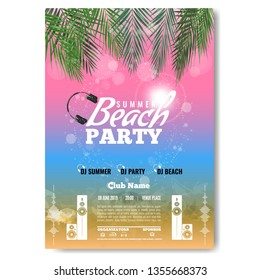 Exotic or tropic Summer DJ Party concert poster template layout design. Modern vector illustration.