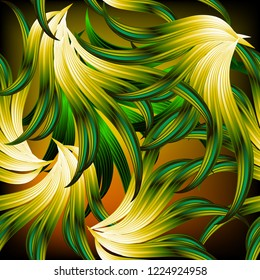 Exotic tropical abstract leafy vector seamless pattern. Modern ornamental intricate background. Repeat glowing  backdrop. Beautiful floral fantasy ornament. Colorful design for wallpapers, textile