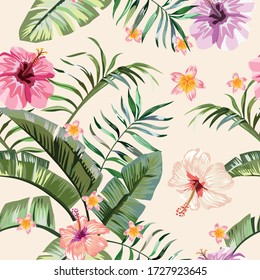 Exotic tropical banana, fern leaves, vivid hibiscus, plumeria flowers seamless pattern on the white background. Jungle vector floral wallpaper.