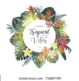 Exotic tropical banner, logo, template, background design with leaves and flowers, light flashes. Vector.