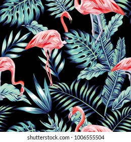 Exotic tropical bird pink flamingo in the night blue forest jungle on the black background. Vector beach art seamless wallpaper pattern