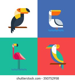 Exotic tropical birds flat style logo icons. Set of vector colorful birds illustration of toucan, cockatoo parrot, flamingo and pelican. Isolated design elements and backgrounds.