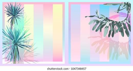 Exotic tropical Dracaena and orchid, sweet saturation pastel gradient colour palette, retro vintage nostalgic