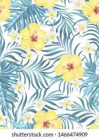 Exotic tropical flowers coral hibiscus palm leaves pattern seamless. Jungle vector vintage wallpaper