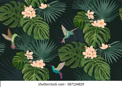 Exotic tropical flowers and leaves. Hummingbirds. Colibri. Seamless pattern. Vector background. Frangipani.