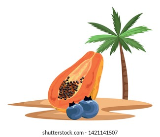exotic tropical fruit with bluberries and papaya icon cartoon over sand with palm background vector illustration graphic design