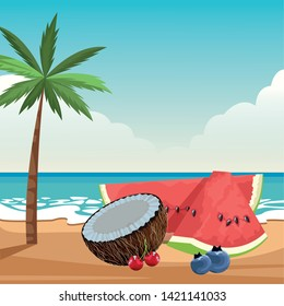 exotic tropical fruit with bluberries, watermelon, coconut and cherries icon cartoon over the beach with sea landscape vector illustration graphic design